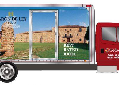 Rotulación lonas camión - Bodegas Barón de Ley, Crealia